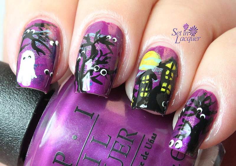 Halloween scene nail art