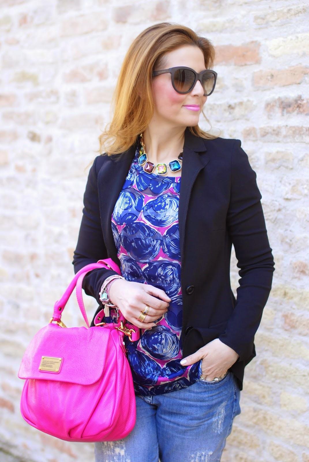 Tory Burch blouse, zara necklace and carla g blazer, fashion blog, fashion blogger style