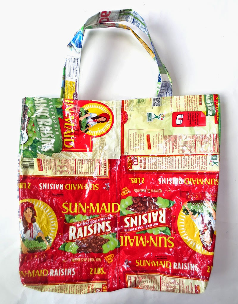 tote bag made from raisin packages