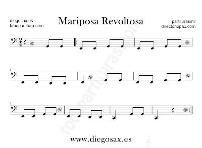 Mariposa revoltosa partitura para Trombón, Tuba, Violonchelo, Fagot, Bombardino... en clave de Fa