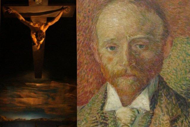 Cristo de San Juan de la Cruz de Dalí y Retrato de Alexander Reid por Vincent van Gogh en Galeria de Arte y Museo Kelvingrove Art Gallery and Museum en Glasgow