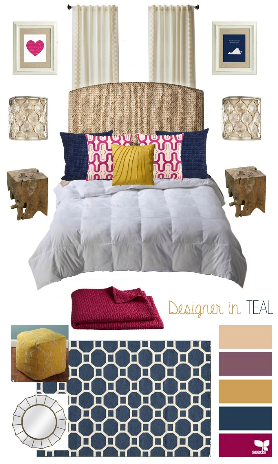 designer in teal mood board bedroom On bedroom boards