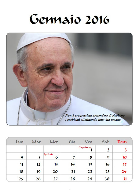 Calendario 2016 Papa Francesco - frasi celebri - gennaio
