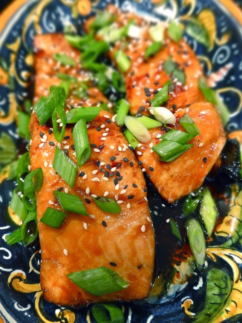 Scrumpdillyicious: Salmon Teriyaki with Bok Choy, Mushrooms & Noodle