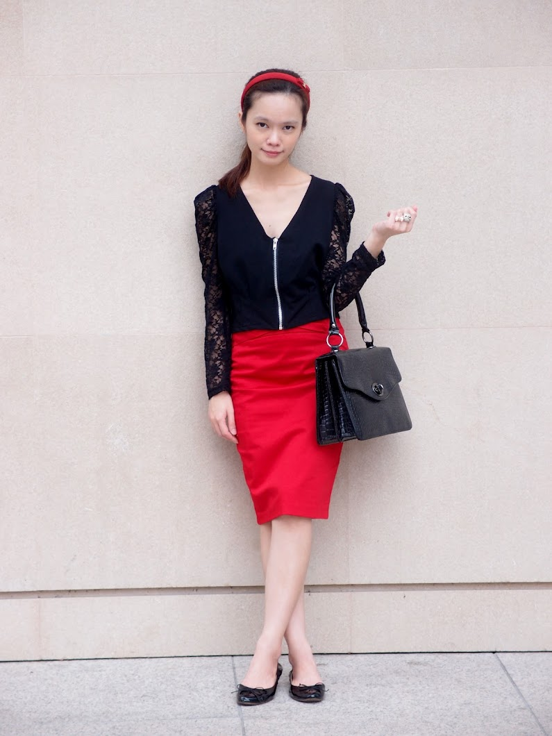 Zip Up Cardigan With Lace Sleeves, Mango Bag, Forever 21 Red Skirt, Zara Flats