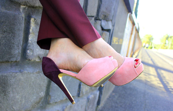 Two Tone Peep Toe Tony Bianco Platforms