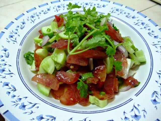 Asian Sausage Recipe-Spicy Chinese sausage salad