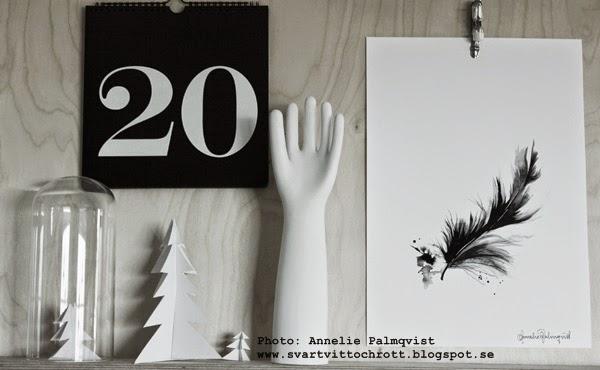 artprint fjäder, fjädrar poster, posters, artprint, artprints, konst, tavla, tavlor i svartvitt, svarta och vita prints, feather, annelie palmqvist, black and white interior, evighetskalender, hylla, plywood, granar av papper, diy,