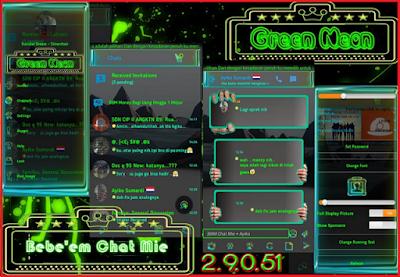 BBM Mod Chat Mie Green Neon 2.9.0.51 APK Background Transparan