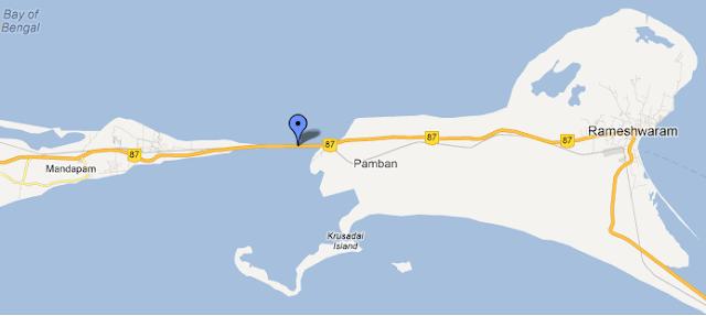 பாம்பன் பாலம்  Pamban+map