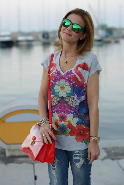 casual outfit, flamingo tee, Marc by Marc Jacobs transparent bag, Fashion and Cookies