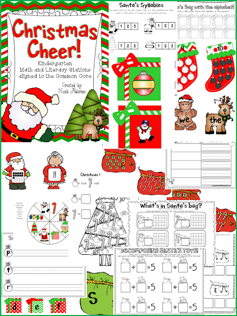 http://www.teacherspayteachers.com/Product/Christmas-Cheer-Kindergarten-Common-Core-Math-and-Literacy-Stations-426298