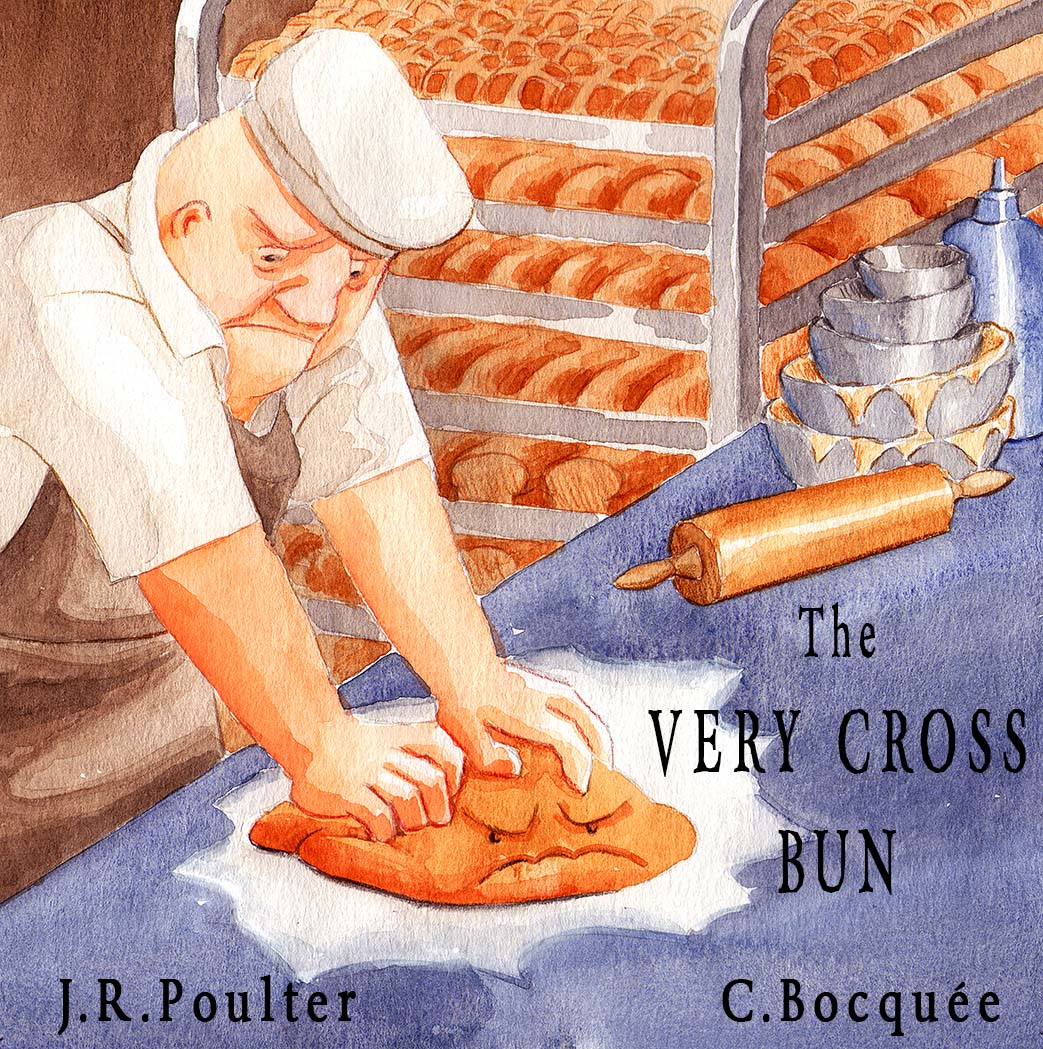 Cover illustration for children's picture book The Very Cross Bun