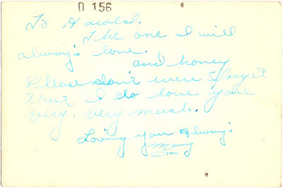 love note from Mary to Harold possibly 1940s World War II