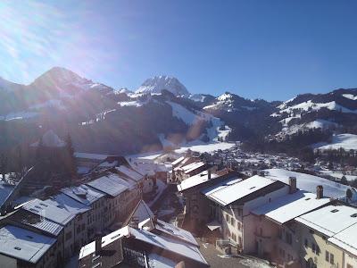 Views of snowy Gruyeres in Switzerland.