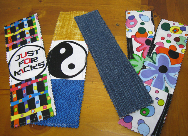 Fabric Bookmarks... a great way to use up scraps of fabric and pieces of pre-loved jeans ~ Threading My Way