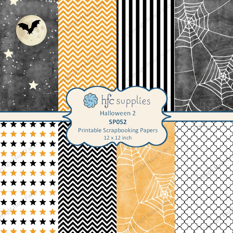 Halloween Digital Scrapbook Papers hfcSupplies