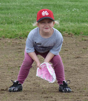 Lily Plumb pink princess playing softball pink cleats pants glove and bat
