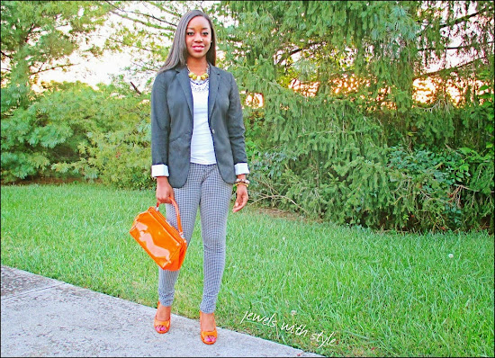 style, fashion blogger, style advice, M Renee Design, Jewels with Style, handmade jewelry, black fashion blogger, orange accessories, leggings, black blazer