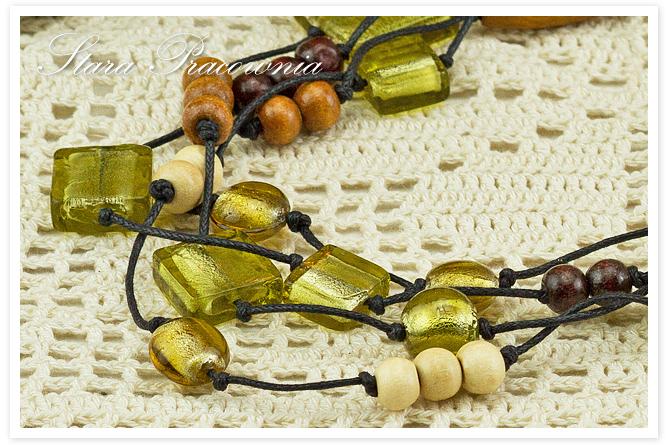 Korale, korale ze szkłem weneckim, korale hand made, rękodzieło, biżuteria autorska, biżuteria ręcznie robiona, naszyjnik hand made