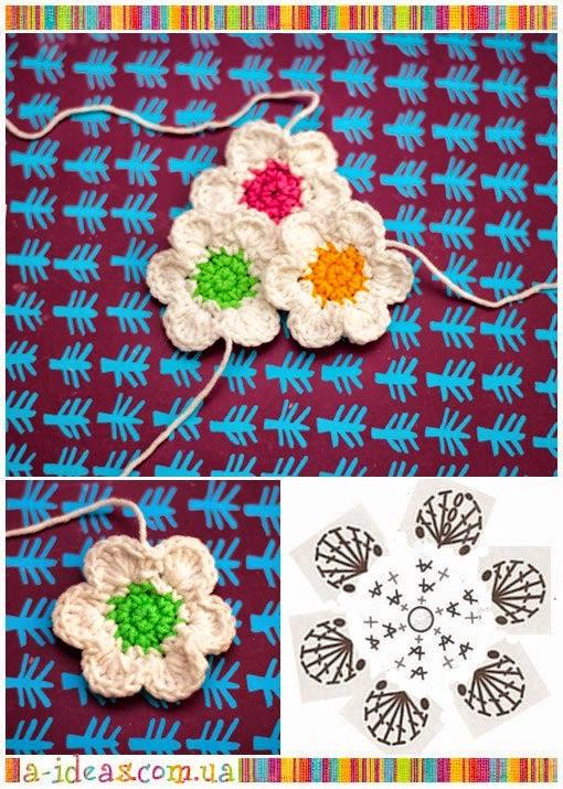 flor tejida al crochet con patrón