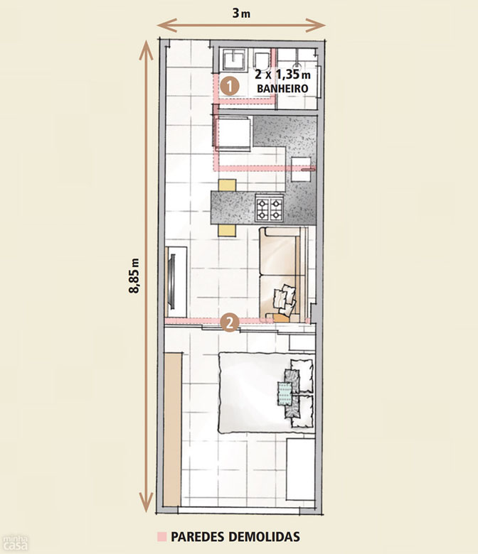 09 quitinete de 26 m2 aposta em moveis planejados e integracao de ambiente Boas ideias para apartamento pequeno ou quitinete!