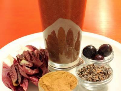 Batido de cacao y cerezas
