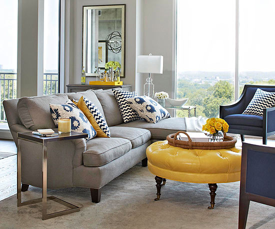 Navy Blue Yellow and Gray Living Room