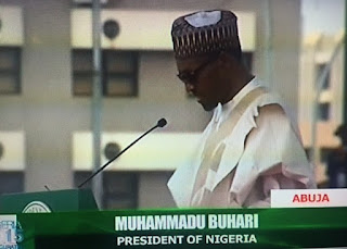 President Muhammadu Buhari giving his inaugural speech