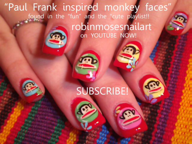 PAUL FRANK INSPIRED MONKEY DESIGN: robin moses nail art tutorial 519