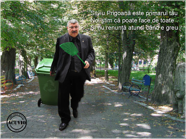 Funny photo Silviu Prigoană cu Plici şi Tomberon
