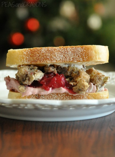 Leftover Stuffing Sammie with Honey-Walnut Cranberry Cream Cheese Spread