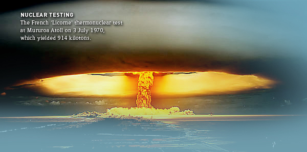 the nuclear testing of france at moruroa France detonated 193 of a total of 210 nuclear tests in the south pacific, at moruroa and fangataufa atolls, before halting them in 1996 in the face of pacific-wide protests.