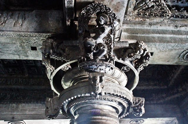 The only place where the Madanikas are found in this temple are on the central pillars in front of the two main shrines. Most of them being damaged to extent and many missing
