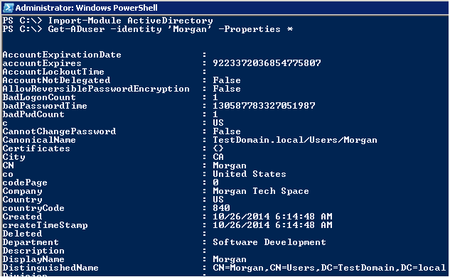 AD PowerShell: Get-ADUser - Select all properties
