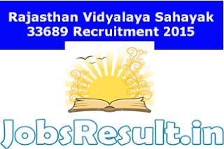 Rajasthan Vidyalaya Sahayak 33689 Recruitment 2015