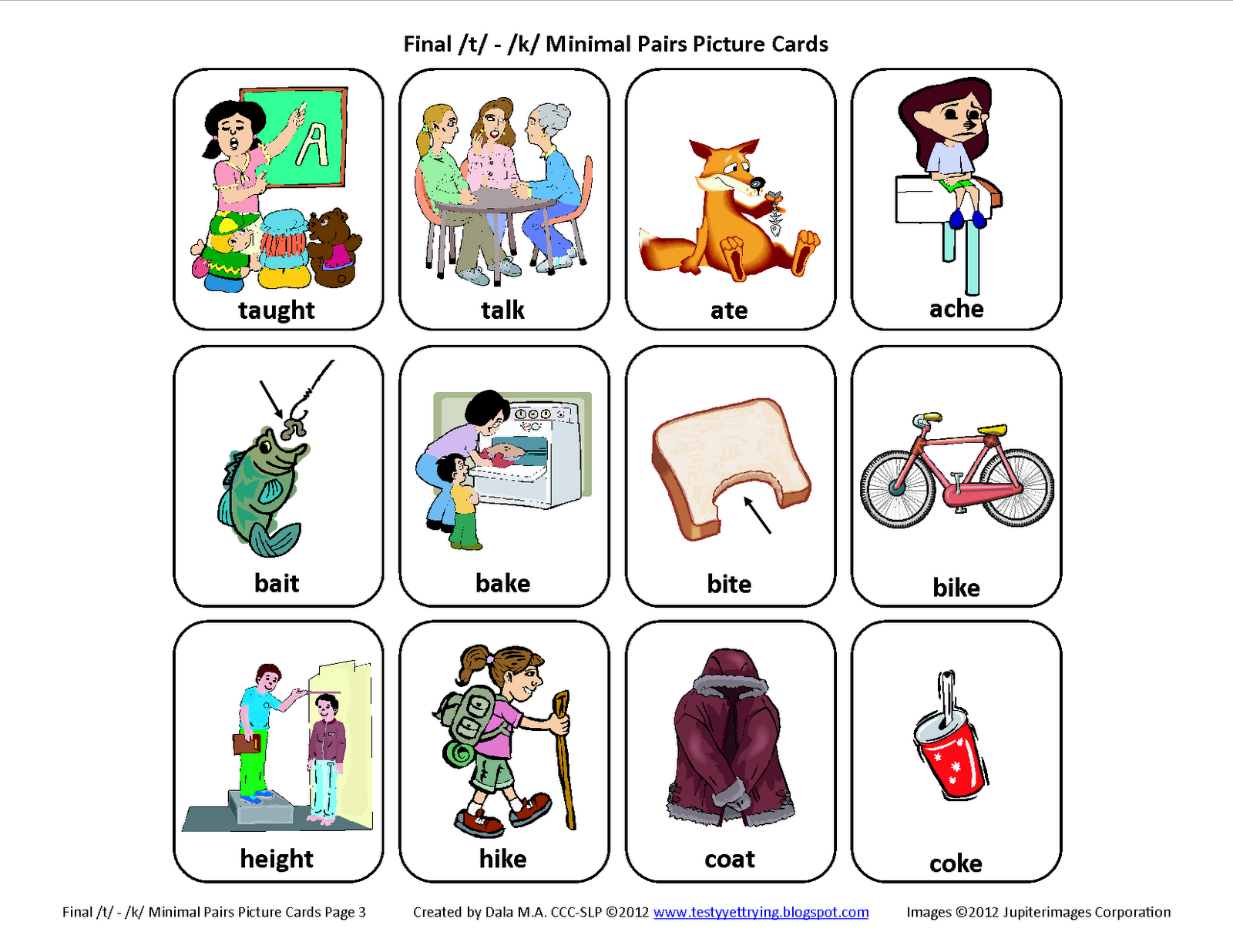 Testy yet trying Final T K Minimal Pair Picture Speech Cards – Final Consonant Deletion Worksheets