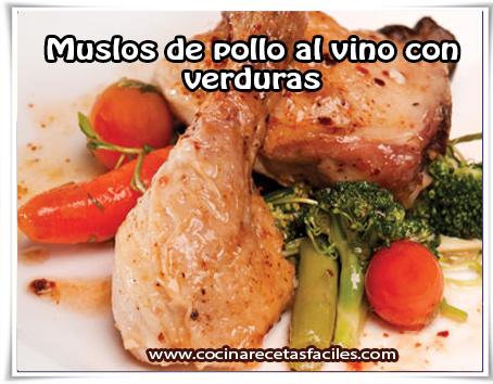 Recetas de pollo , muslos de pollo al vino con verduras