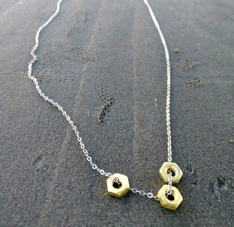 diy hex nut necklace jewelry making tutorial