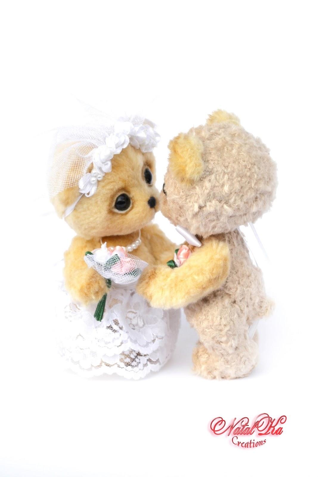 Авторские медведи тедди, свадебная пара, жених и невеста, медвежата тедди, мишки тедди, ручная работа от NatalKa Creations. Artist teddy bears, teddies with charm, bride and groom, artist bears, bers jointed, wedding bears, ooak, bears from silk, handmade by NatalKa Creations.