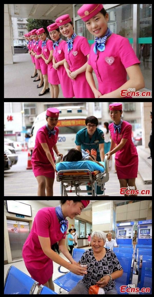 WOW JURURAWAT BERPAKAIAN PRAMUGARI DI HOSPITAL CHINA 9 GAMBAR