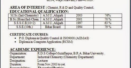 Sample resume for msc microbiology fresher