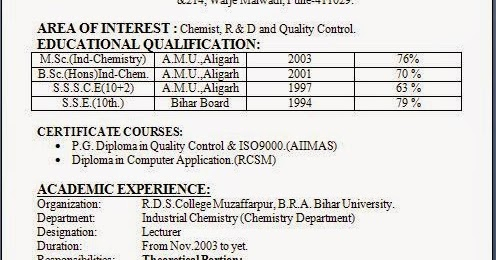 format of resume sle
