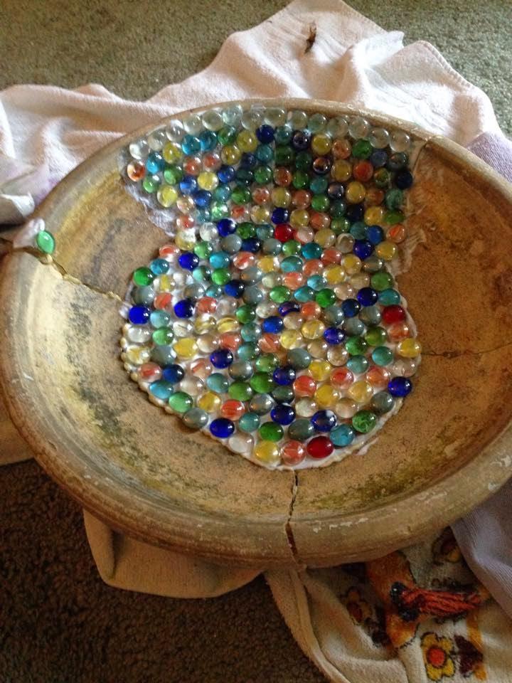 Brie 39 s diy crafts aquarium stone recycled dvd mosaic for Diy stone birdhouse