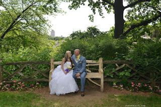 Bride and Groom on Wooden Bench outside Delacorte Theater