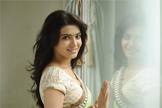 Samantha Ruth Prabhu Cute Spicy Open Hairs Green Saree Cream Blouse Pictures