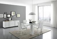 Imagen: Living comedor moderno luminoso con contrastes entre el color blanco y el gris. Además una alfombra central