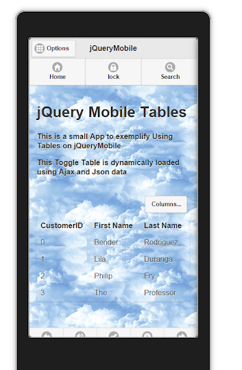 jQueryMobile using  Ajax  to load Json data to a Table   1