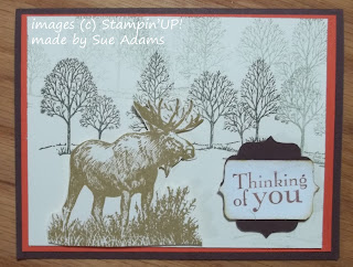 Card made with the moose stamp from Stampin'UP!'s Walk in the Wild Stamp set.