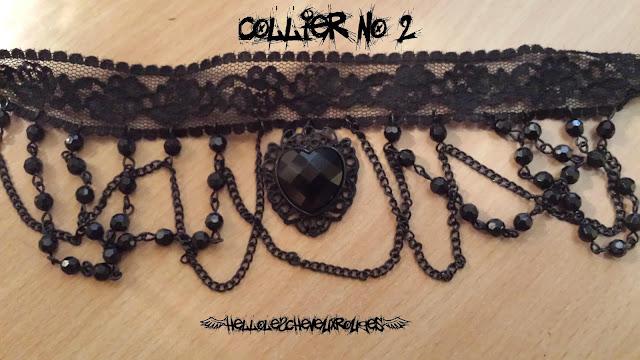 Deuxième Collier ras de cou gothique dentelles et coeur noir www.hellolescheveuxrouges.com